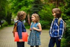 Little school students briskly talk on the schoolyard. Stock Image