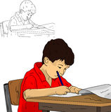 Little schoolboy. Vector - little schoolboy wrote to notepad Stock Photo