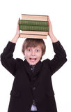 Little schoolboy with books Royalty Free Stock Photo