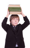 Little schoolboy with books Royalty Free Stock Image