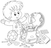 Little schoolboy completing his schoolbag stock illustration