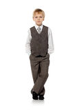 Little schoolboy plays in businessman Royalty Free Stock Images