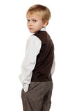 Little schoolboy plays in businessman Royalty Free Stock Image