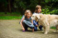 Little schoolchildren met on the way to school a large dog. Stock Photography