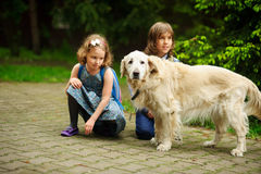 Little schoolchildren met on the way to school a large dog. Royalty Free Stock Images