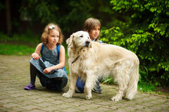 Little schoolchildren met on the way to school a large dog. Royalty Free Stock Photo