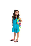 Little schoolgirl with backpack Royalty Free Stock Photos