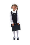 Little Schoolgirl With Black Folder. Stock Photos
