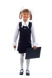 Little Schoolgirl With Black Folder. Royalty Free Stock Photo