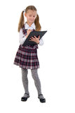Little Schoolgirl With Black Folder. Stock Photography