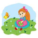 Little schoolgirl with a book sitting on the meadow. Vector illustration Stock Images