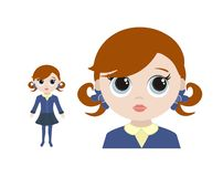 Little schoolgirl illustration Royalty Free Stock Image