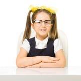 Little schoolgirl isolated Stock Image