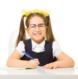 Little schoolgirl isolated Royalty Free Stock Photography