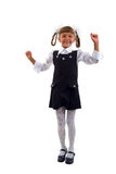 Little Schoolgirl Jumping Of Joy. Stock Images
