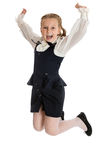 Little schoolgirl jumps Royalty Free Stock Photos