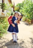 Little schoolgirl with mother Royalty Free Stock Photo