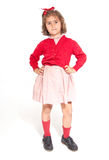 Little schoolgirl in red Royalty Free Stock Photos
