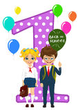 Little schoolgirl and schoolboy in school uniform holding balloons with back to school text standing next to number one stock illustration