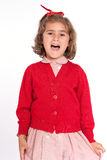 Little schoolgirl shouting happily Royalty Free Stock Photo