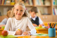 Little schoolgirl Royalty Free Stock Photography