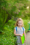 The little schoolgirl stand on background park vegetation. Stock Photos