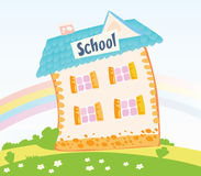 Little Schoolhouse in nature Royalty Free Stock Photos