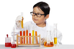 Little scientist holding beaker. Portrait of little scientist holding beaker and looking the reaction, isolated over white Stock Photos