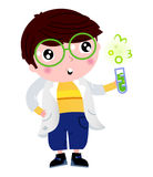 Little scientist holding laboratory flask stock illustration