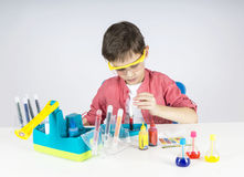 Little scientist. Playing at the lab Stock Photos