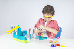 Little scientist. Playing at the lab Stock Photo