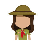 Little scout character icon Royalty Free Stock Photo