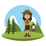 Little scout character with lantern icon Stock Photography
