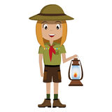 Little scout character with lantern icon Royalty Free Stock Photo