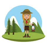 Little scout character with lantern icon Royalty Free Stock Images