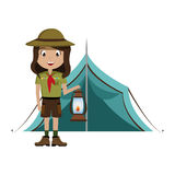 Little scout character with lantern icon Royalty Free Stock Photos
