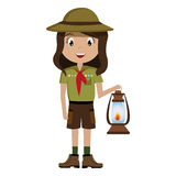 Little scout character with lantern icon Stock Image