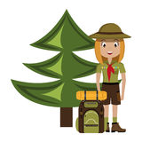 Little scout character with travel bag icon Stock Photo