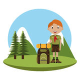 Little scout character with travel bag icon Royalty Free Stock Photo