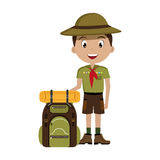Little scout character with travel bag icon Stock Image