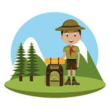 Little scout character with travel bag icon Stock Images