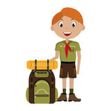 Little scout character with travel bag icon Royalty Free Stock Image