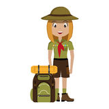 Little scout character with travel bag icon Royalty Free Stock Photography