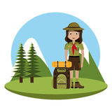 Little scout character with travel bag icon Stock Photos