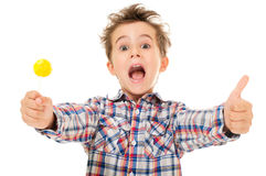 Little screaming excited boy shows Stock Image