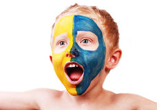 Little screaming football fan Royalty Free Stock Photography