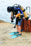 Little scuba diver , before diving into sea Stock Images