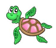 Little sea turtle pink. Little sea turtle - pink - color illustration Stock Photography