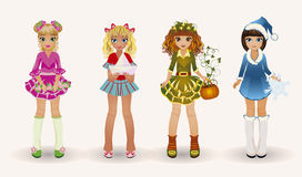 Little seasons girls, vector Royalty Free Stock Images