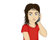 Little serious and angry girl talking on the phone while holding Stock Photos
